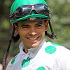 Luis Saez in the paddock at Saratoga on August 24, 2019. Photo By: Chad B. Harmon