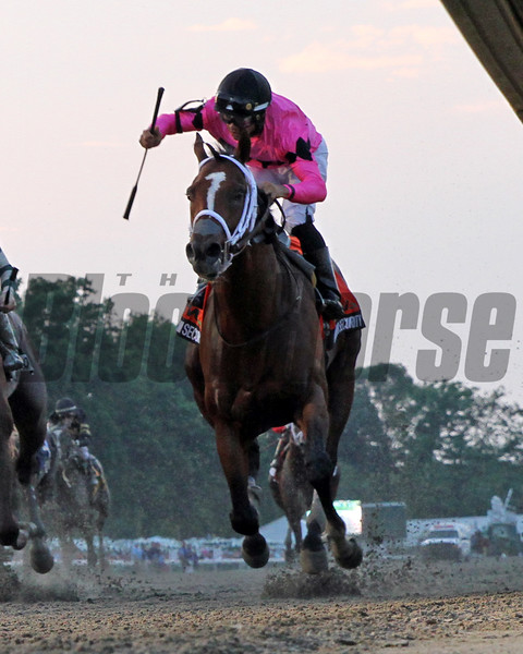 Maximum Security with Luis Saez win the 52nd Running of the Haskell Invitational (GI) at Monmouth Park on July 20, 2019. Photo By: Chad B. Harmon