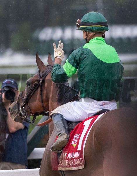 Dunbar Road with jockey Jose Ortiz reacts to winning the 139th running of The Alabama the Saratoga Race Course Saturday Aug. 17, 2019  in Saratoga Springs, N.Y.  This was Ortiz's third win in The Alabama.  Photo  by Skip Dickstein