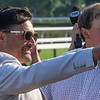 Trainer Luis Carvajal is all smiles as Imperial Hint with jockey Javier Castellano wins the 35th running of the Vanderbilt Saturday July 27, 2019at the Saratoga Race Course in Saratoga Springs, N.Y. Photo: Skip Dickstein