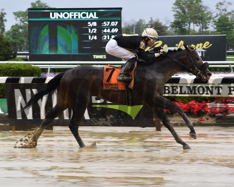 Wendell Fong wins the Gold Fever Stakes May 12, 2019 at Belmont Park. Photo: Coglianese Photos