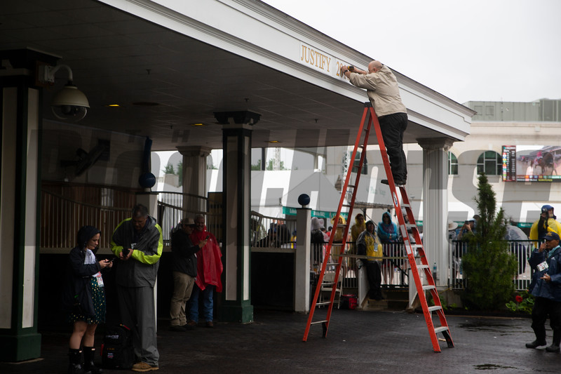 The sign of the 2018 Derby winner was taken down in the paddock at Churchill Downs on Derby Day on May 4, 2019 in Louisville, Ky. Photo: Arden Barnes