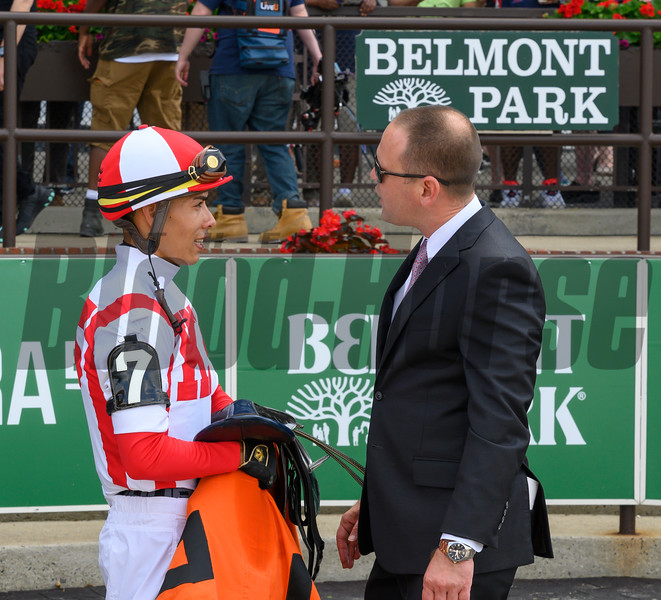 Trainer Chad Brown speaks with jockey Jose Ortiz after he rode Separationofpowers to the win in the 63rd running of The Bed O'Roses (GIII) at Belmont Park in Elmont, N.Y. June 7, 2019.  Photo by Skip Dickstein
