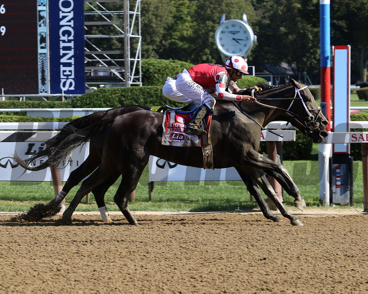 Midnight Bisou wins the 2019 Personal Ensign Stakes at Saratoga<br /> Coglianese Photos/Taylor Ejdys