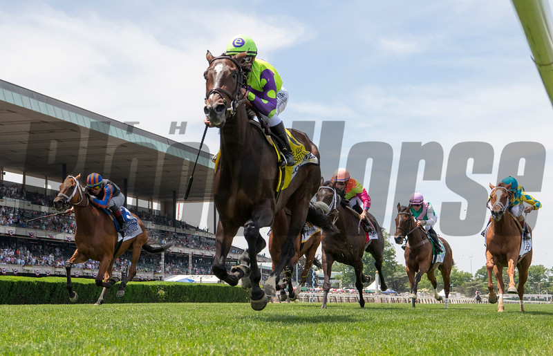Rushing Fall with Jockey Javier Castellano wins the 26th running of the Longines Just A Game at Belmont Park June 8, 2019 in Elmont, N.Y. Photo by Skip Dickstein/Tim Lanahan