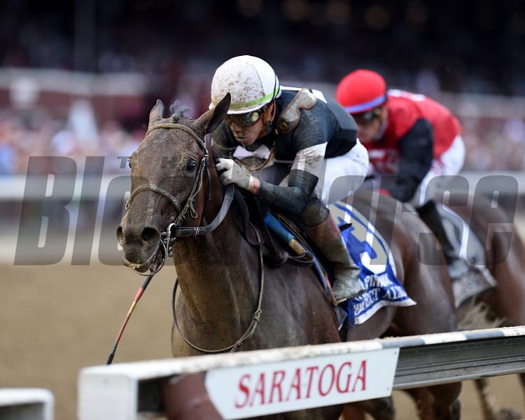 Perfect Alibi wins the 2019 Spinaway Stakes at Saratoga. Photo: Coglianese Photos/Janet Garaguso