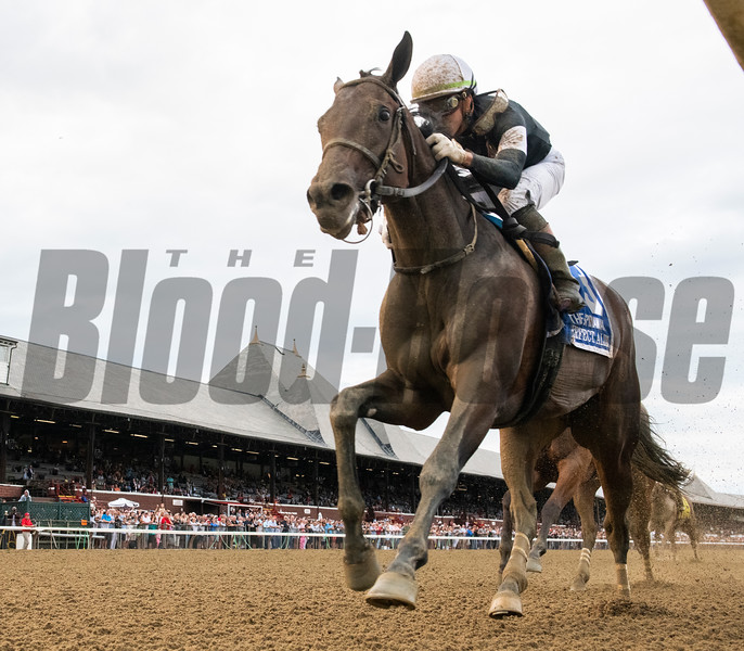 Perfect Alibi with jockey Irad Ortiz Jr. wins the 128th running of the Spinaway at the Saratoga Race Course Sept. 1, 2019 in Saratoga Springs, N.Y.  Photo by Skip Dickstein/Tim Lanahan