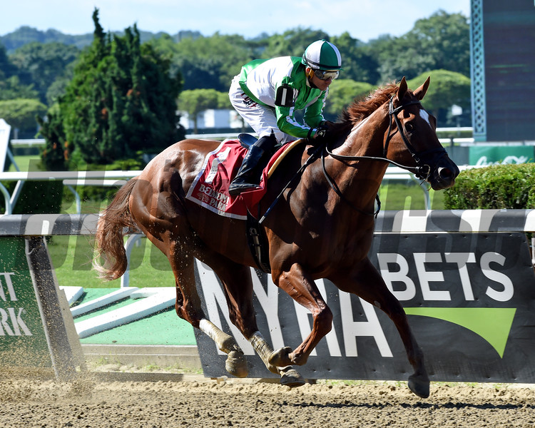 Mr. Buff wins the Saginaw Stakes Sunday, June 30, 2019 at Belmont Park. Photo: Coglianese Photos/Chelsea Durand