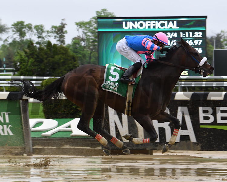 Come Dancing wins the Ruffian Stakes Sunday, May 5, 2019 at Belmont Park. Photo: Coglianese Photos/Susie Raisher