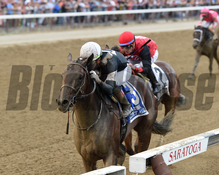 Perfect Alibi wins the 2019 Spinaway Stakes at Saratoga. Photo: Coglianese Photos/Chelsea Durand