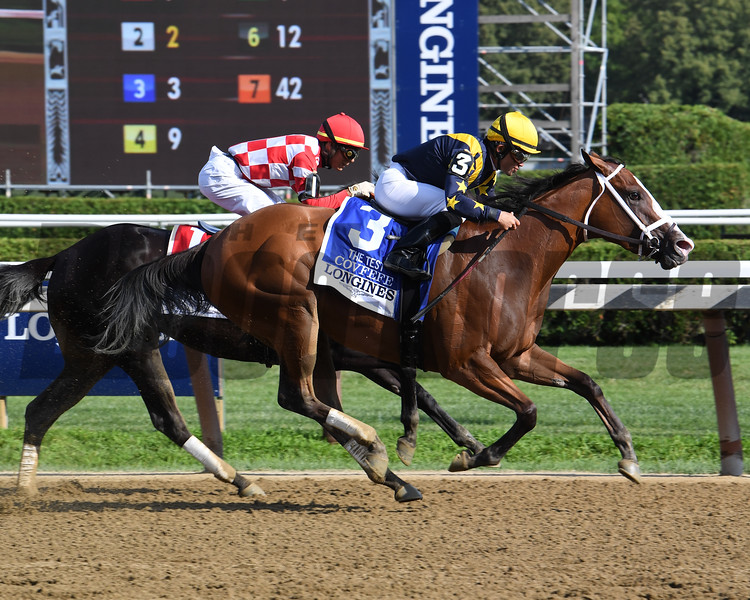 Covfefe wins the 2019 Test Stakes at Saratoga. Photo: Coglianese Photos/Susie Raisher