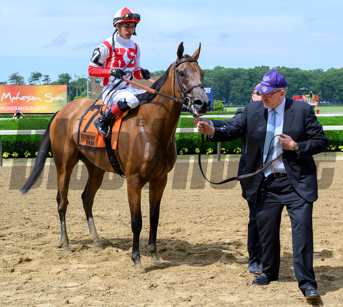 Owner Seth Klarman leads Separationofpowers ridden by Jose Ortiz to the winner's circle after the 63rd running of The Bed O'Roses (GIII) at Belmont Park in Elmont, N.Y. June 7, 2019.  Photo by Skip Dickstein