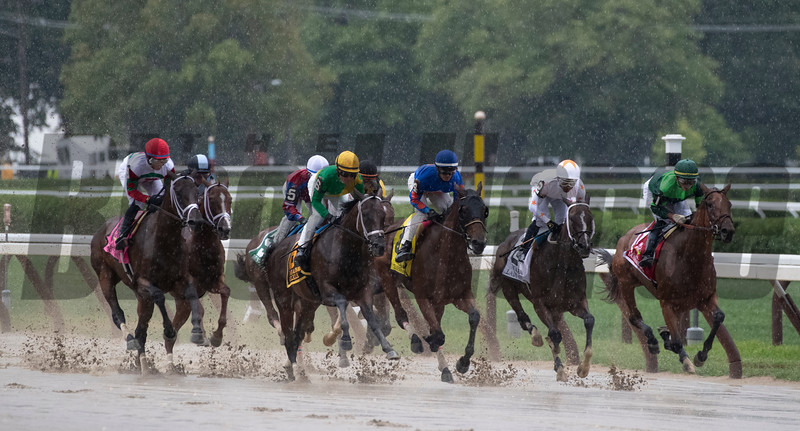 Dunbar Road with jockey Jose Ortiz leads the field down the stretch for the times on the way to winning the 139th running of The Alabama the Saratoga Race Course Saturday Aug. 17, 2019  in Saratoga Springs, N.Y.  This was Ortiz's third win in The Alabama.  Photo  by Skip Dickstein