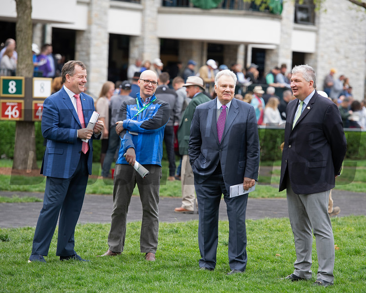 In the saddling area with friends and partners, l-r, Jeff Hudepolh, Jeff Lowe (representing co-Owner West Point), Tom, and Chip Bach. Tom Hammond at Keeneland on April 12, 2019 in Lexington,  Ky.