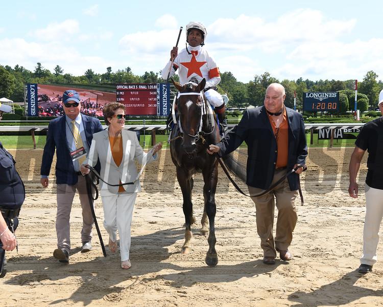 Mitole wins the 2019 Forego Stakes at Saratoga. Photo: Coglianese Photos
