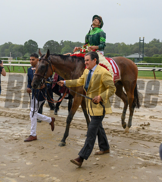 Owner Peter Brant leads Dunbar Road with jockey Jose Ortiz to the winner's circle after winning the 139th running of The Alabama the Saratoga Race Course Saturday Aug. 17, 2019  in Saratoga Springs, N.Y.  This was Ortiz's third win in The Alabama.  Photo  by Skip Dickstein