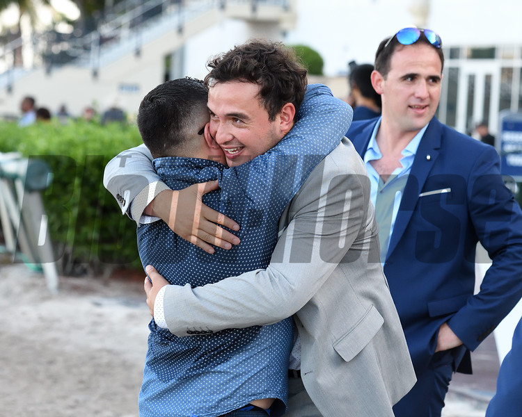 Graceful Kitten wins the 2019 Proud Man Stakes at Gulfstream Park <br /> trainer Amador Sanchez<br /> Coglianese Photos/Ryan Thompson
