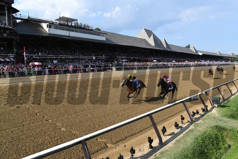Covfefe wins the 2019 Test Stakes at Saratoga. Photo: Coglianese Photos/Derbe Glass