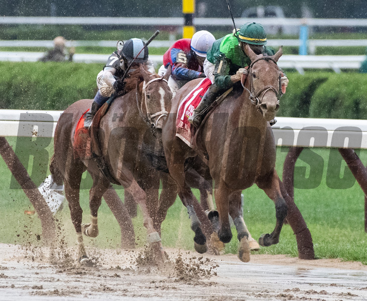 Dunbar Road with jockey Jose Ortiz on the way to winning the 139th running of The Alabama the Saratoga Race Course Saturday Aug. 17, 2019  in Saratoga Springs, N.Y.  This was Ortiz's third win in The Alabama.  Photo  by Skip Dickstein