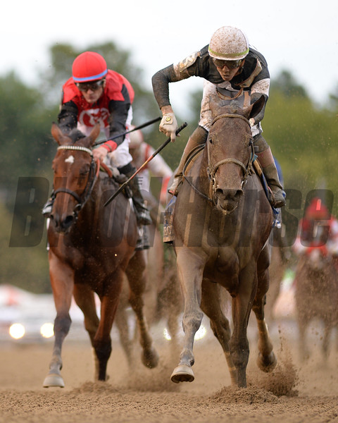 Perfect Alibi wins the 2019 Spinaway Stakes at Saratoga. Photo: Coglianese Photos