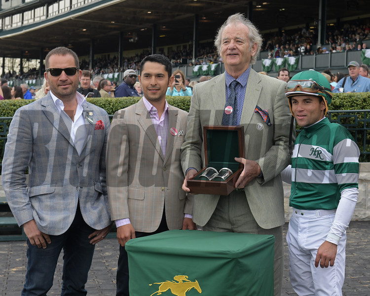 l-r, DAvid Ingordo, unknown, Bill Murray, and Joel Rosario. Ginger Nut with Joel Rosario wins the Limestone Turf Sprint at Keeneland on April 18, 2017 in Lexington,  Ky.