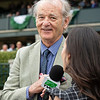 Bill Murray with Britney Eurton of TVG after presenting the trophy to Ginger Nut connections. Ginger Nut with Joel Rosario wins the Limestone Turf Sprint at Keeneland on April 12, 2019 in Lexington,  Ky.