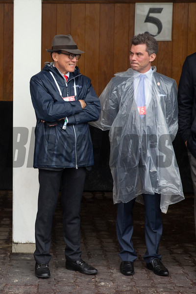 Ah Kingh Teo talks in the paddock before the Kentucky Derby at Churchill Downs on Derby Day on May 4, 2019 in Louisville, Ky. Photo: Arden Barnes