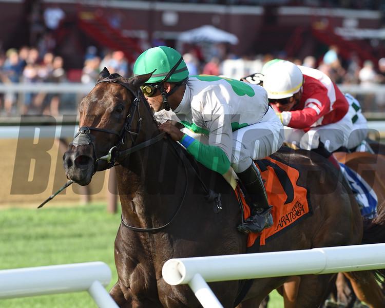 Mominou wins the Caress Stakes Sunday, July 21, 2019 at Saratoga. Photo : Coglianese Photos/Chelsea Durand