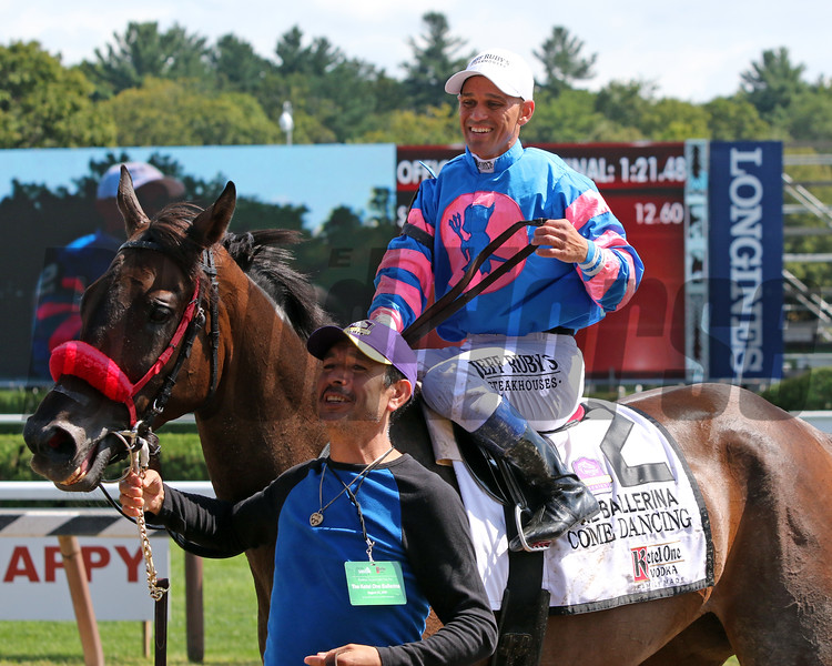 Come Dancing with Javier Castellano after winning the 41st Running of The Ballerina (GI) at Saratoga on August 24, 2019. Photo By: Chad B. Harmon