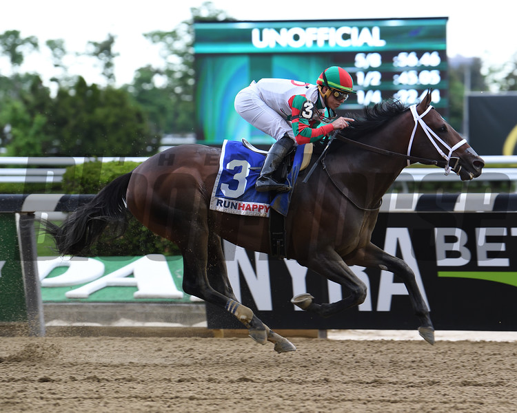 Firenze Fire and Irad Ortiz Jr. win the Runhappy Stakes at Belmont Park on May 11, 2019<br /> Coglianese Photos/Susie Raisher