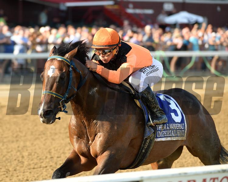 Imperial Hint wins the Alfred G. Vanderbilt Handicap Saturday, July 27, 2019 at Saratoga. Photo: Coglianese Photos/Joe Labozzetta