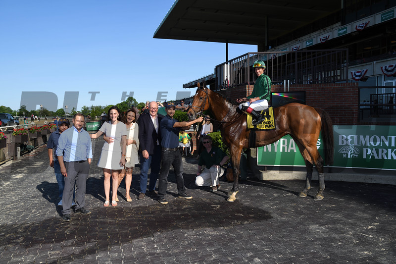 Gucci Factor wins the Kingston Stakes Monday, May 27, 2019 at Belmont Park. Photo: Coglianese Photos