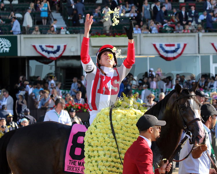Bricks and Mortar with Irad Ortiz Jr. win the 118th Running of the Manhattan (GI) at Belmont Park on June 8, 2019. Photo By: Chad B. Harmon