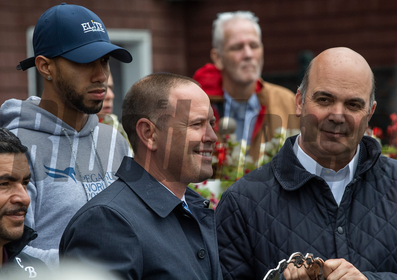 Chad Brown, left is crowned leading trainer of the 2019 meeting by senior vice president of racing operations Martin Panza at the Saratoga Race Course Monday Sept. 2, 2019 in Saratoga Springs, N.Y.  Photo  by Skip Dickstein