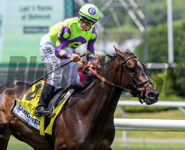 Rushing Fall with Jockey Javier Castellano wins the 26th running of the Longines Just A Game at Belmont Park June 8, 2019 in Elmont, N.Y. Photo by Skip Dickstein