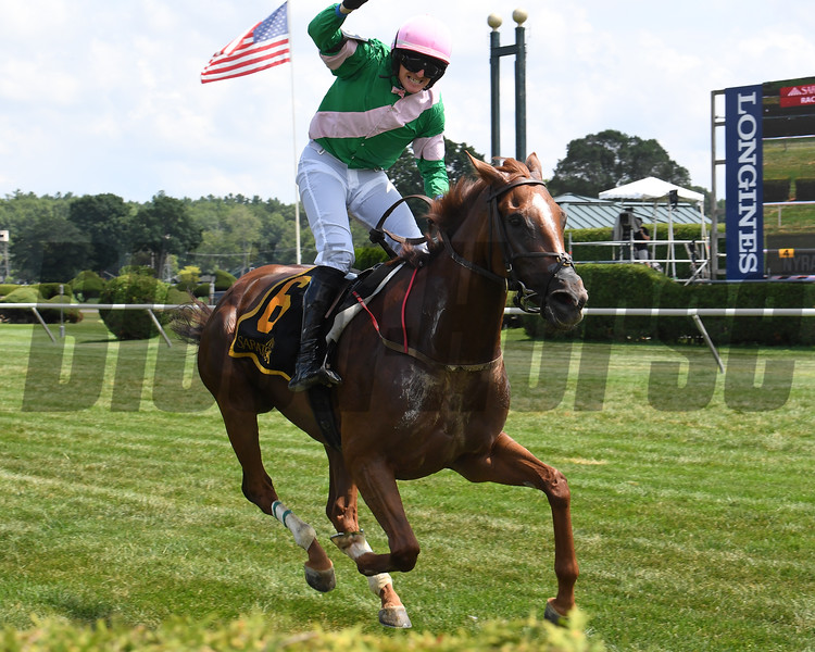 Market Alley wins the Mrs. Ogden Phipps Stakes Wednesday, August 7, 2019 at Saratoga. Photo: Coglianese Photos