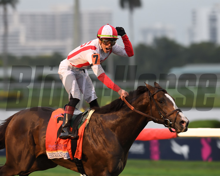 Bricks and Mortar wins the 2019 Pegasus World Cup Turf Invitational at Gulfstream Park<br /> Coglianese Photos