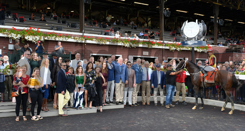 Jose Ortiz who has been crowned leading jockey for the 2019 meeting sits atop Basin in the winner's circle after winning the 115th running of The Runhappy Hopeful at the Saratoga Race Course Monday Sept. 2, 2019 in Saratoga Springs, N.Y.  Photo  by Skip Dickstein