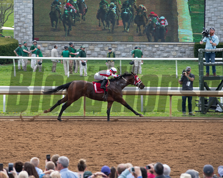 Finish of Race 3 Our Alibi with John McKee and scenes at Keeneland in Lexington, Ky., on April 4, 2019