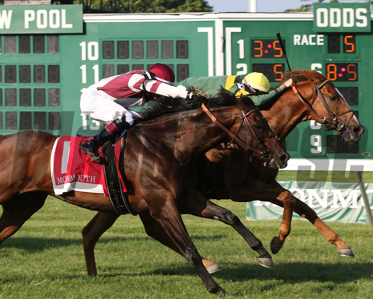 Just Howard with Trevor McCarthy win the 72nd Running of The Oceanport Stakes (GIII) at Monmouth Park on July 20, 2019 over Divisidero with Jevian Toledo. Photo By: Chad B. Harmon