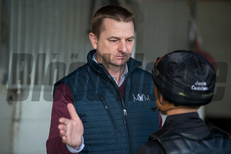 Michael McCarthy talks with Javier Castellano, Gulfstream Park, January 19, 2019<br /> Joe DiOrio Photo