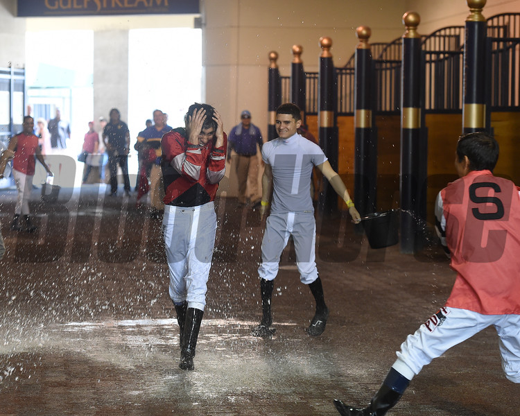 Miguel Arroyo earns first career win aboard Stay Again in a maiden claiming race July 27, 2019 at Gulfstream Park. Photo: Coglianese Photos/Lauren King