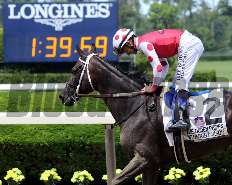Midnight Bisou with Mike Smith win the 51st Running of the Ogden Phipps (GI) at Belmont Park on June 8, 2019. Photo By: Chad B. Harmon