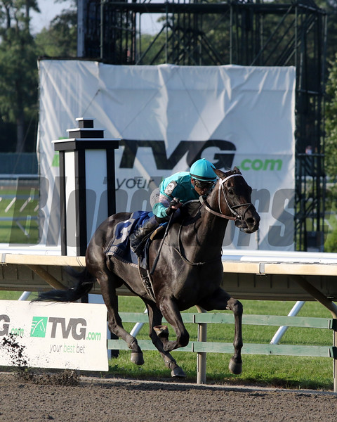 Midnight Bisou with Mike Smith win the 73rd Running of The Molly Pitcher Stakes (GIII) at Monmouth Park on July 20, 2019. Photo By: Chad B. Harmon
