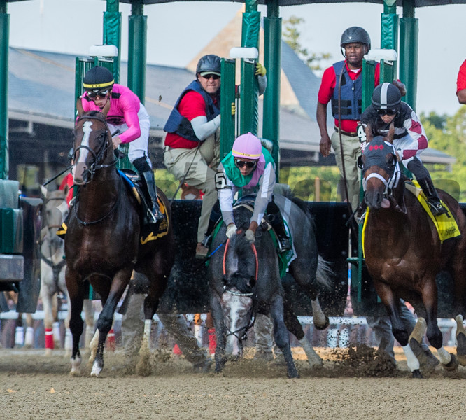 Tacitus goes to his nose at the start of the 56th running of the Jim Dandy at Saratoga Race Course causing him to0 loose ground to the winner Tax Saturday July 27, 2019.  Photo by Skip Dickstein/Tim Lanahan