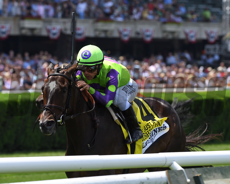 Rushing Fall wins the 2019 Longines Just a Game Stakes at Belmont Park<br /> Coglianese Photos/Chelsea Durand