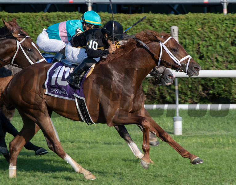 Channel Cat with jockey Luis Saez aboard wins the 61st running of the Bowling Green Saturday July 27, 2019 at the Saratoga Race Course in Saratoga Springs, N.Y. Photo: Skip Dickstein