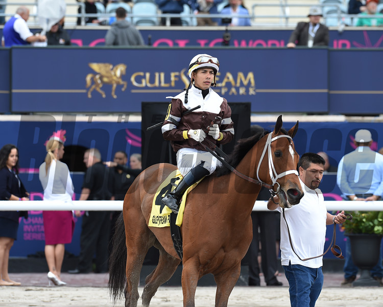 Cherry Lodge wins the 2019 off-the-turf Ladies Turf Sprint at Gulfstream Park<br /> Coglianese Photos/Lauren King