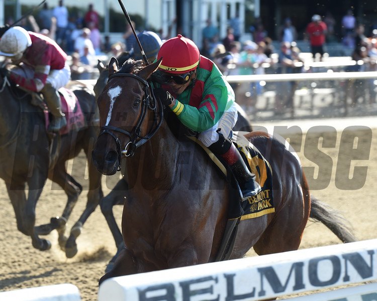 Blindwillie McTell wins the Mike Lee Stakes Monday, May 27, 2019 at Belmont Park. Photo: Coglianese Photos/Chelsea Durand