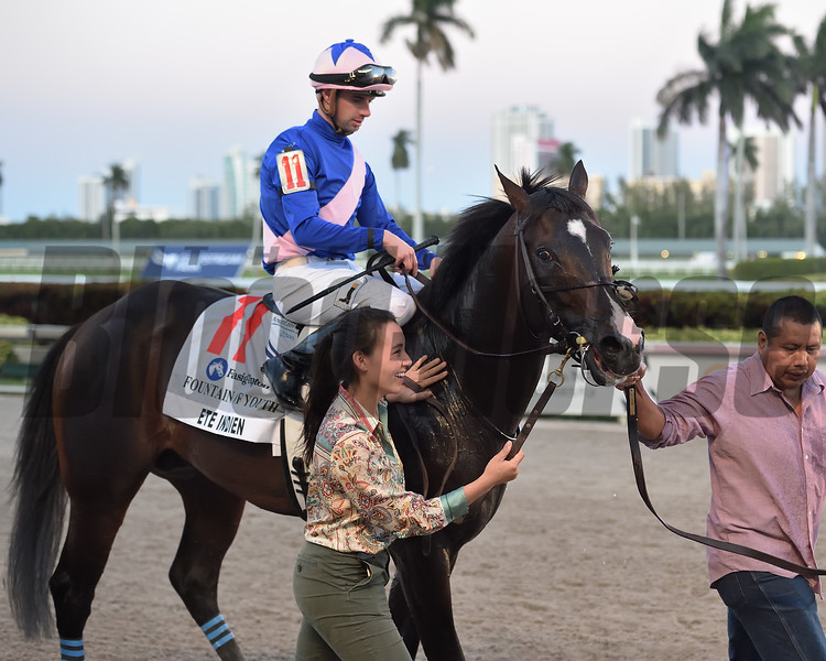Ete Indien wins the 2020 Fountain of Youth Stakes at Gulfstream Park. Photo: Coglianese Photos/Ryan Thompson